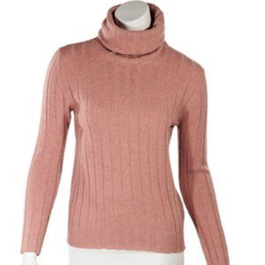 Pink Chanel Ribbed Knit Turtleneck Sweater